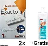 HIV Selbstest + Gratis Hand Desinfektion (begrenzt viruzid inkl. HBV/HCV/HIV). Einfache Anleitung in Bildern und Ergebnis nach 10 Minuten.