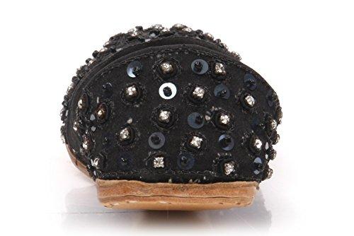 Unze Bonn' Kinder Leder Traditionelle Indianer Khussa Pumpen Schuhe - IS221 Schwarz