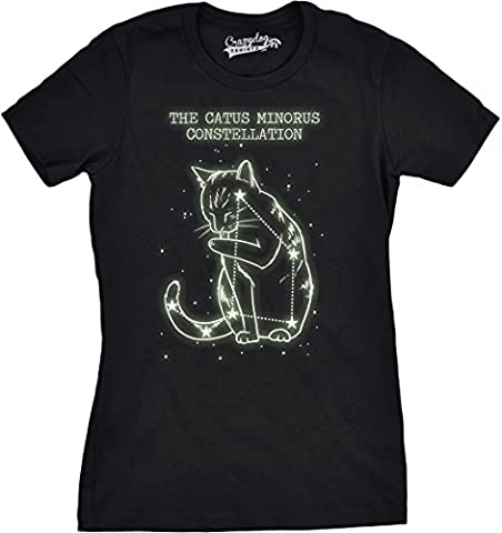 Crazy Dog TShirts - Womens The Catus Minorus Constellation Glow In The Dark T Shirt Funny Cats Tee -L - Femme