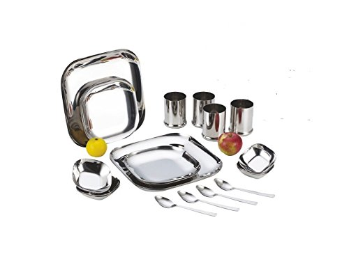 Aristo Stainless Steel Square Dinner Set-24 pcs  available at amazon for Rs.3200
