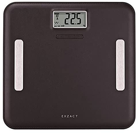 Exzact Elite EX751 Leather-Look Platform – Digital Bathroom Scale / Body Fat Analyser / Electronic Weighing Scale - Body Fat / Hydration / Body Muscle / Bone - 12 user memory - Extra Large Capacity: 180 kg / 400 lb (Black)