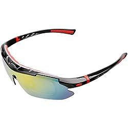 A-SZCXTOP Unisex Polarisierte Sport Sonnenbrille UV400 Schutzbrille Radfahren Reiten Angeln Fahren Sonnenbrillen mit 5 Wechselobjektiven