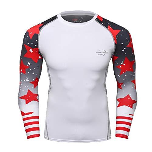 Tops Herren Sommer Shirts Basics Baumwolle Tank Tops Fitness Running Polo Bluse Strand Hemden Herbst 2019 Neu Qmber Schlankes langärmliges Yoga T-Shirt mit Aufdruck/Schwarz2,L