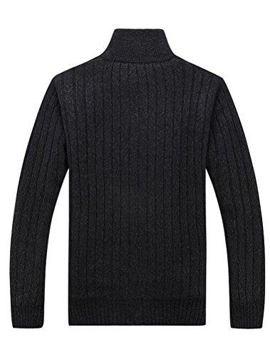 MatchLife Herren Stehkragen Pullover Reißverschluss Mantel Style1-Schwarz-Fleece