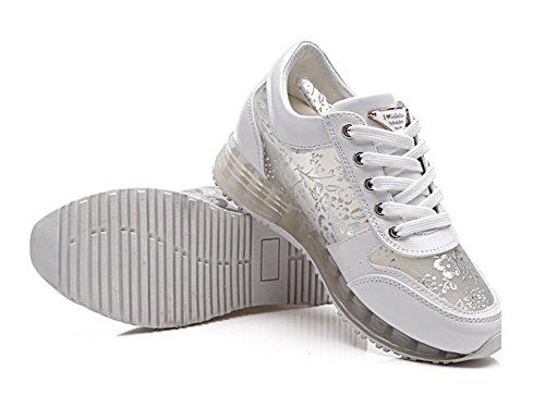 Wealsex Damen Sneakers Spitze Sportschuhe Weiß