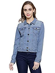 MansiCollections Blue Embroidered Denim Jacket for Women (Small)