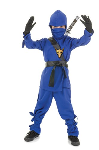Ninja Kostüm Kleinkind Für - Halloween Kostüm Party Kleidung Festival Fasching Karneval Cosplay Retro Mode Fun Kinder Cute Niedlich Kostüm Kleinkind Ninja Blau (Shirt+Hose+Schärpe+Gürtel+Maske+Kapuze)- Kindergröße 6-8