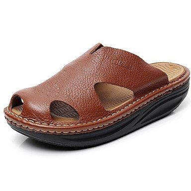 estate scarpe da uomo Outdoor / casuale pelle sandali piattaforma pantofole nero / marrone sandali US10 / EU43 / UK9 / CN44