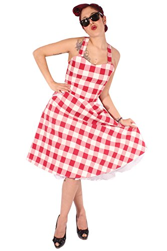 SugarShock Damen Gingham Rockabilly Swing Kleid 148263605 Rot XL Rockabilly Gingham