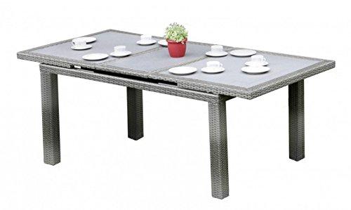 Gartentisch - Ausziehtisch mit Glasplatte, Poly-Rattan grau