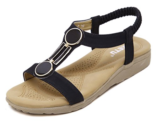 Fortuning's JDS Damen Sommer Bequeme elastische Gurt Flache Sandalen mit Metall Dekor Schwarz