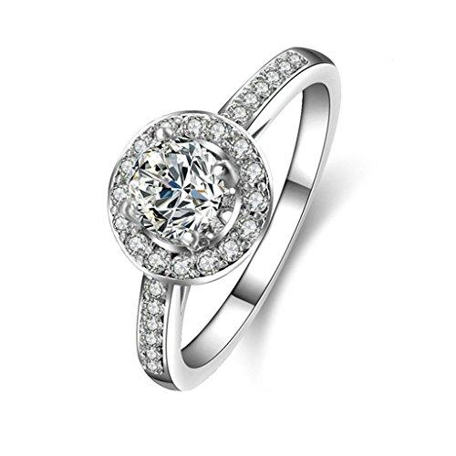 Daesar Silberring Damen Ring Silber Ehering für Damen Benutzerdefinierte Ring Runde Zikonia Ring Größe:52 (Kaugummiautomaten Kostüm Paar)