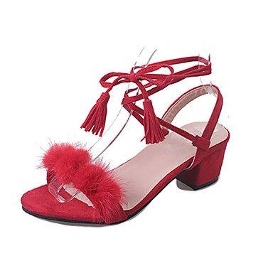 LvYuan Sandalen-Lässig Kleid-PU-Niedriger Absatz-Komfort-Schwarz Rot Weiß Black