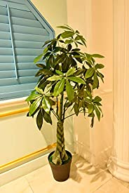 YATAI Artificial Money Plant 1.6 Meters High Artificial Pachira Aquatica Tree in Plastic Pot for Home Garden O