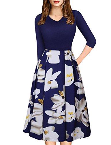 Bright Deer Kleider Damen Midi Lange Vintage Empire Blume Gedruckten Swing Gefalteten Kleid Business Parteiarbeit Freizeit Herbst Kleider Dames Kleding Blau 38 (Knit Robe Wrap)