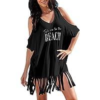 Vestido de verano de mujer, Dragon868 Las mujeres borla Letras de traje de baño bikini Cover ups vestido para la playa