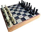 "Baba HANDICRAFTS Store Folding Makrana Marble Chess Board with Wooden Base (Size : 10"")"