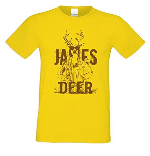 James Deer ::: Sprüche-Fun-Hirsch-T-Shirt-Herren Freizeit Volksfest Oktoberfest Tracht Party Outfit - Geschenk Männer Farbe: gelb Gelb