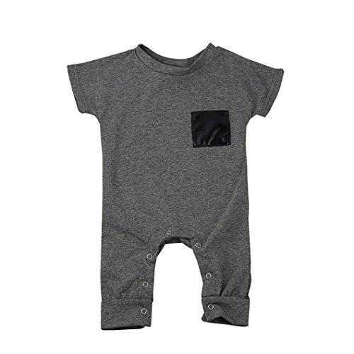 Baby Strampler, Bekleidung Longra Baby-Jungen Mädchen Bodysuits Kurzarm Spielanzug Overall Kleidung(0-24Monate) (90CM 18Monate, Gray)
