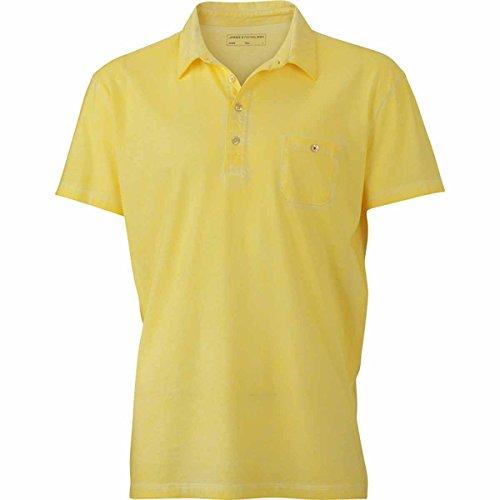 JAMES & NICHOLSON Herren Poloshirt, Einfarbig jaune clair