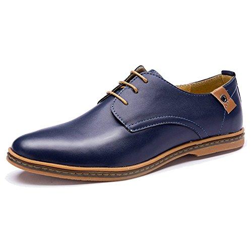 ce739c58ed67c Minetom Hombres Estilo Británico Comodidad Cuero de Boda con Cordones de  Zapatos Planos de Vestir de