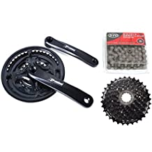 8x3 24 Speed Mountain MTB Hybrid Bike Bicycle Drivetrain Crankset in 2 sizes (24/34/42T or 28/38/48T) Chainset Crank Chain Set Shimano Cassette Groupset