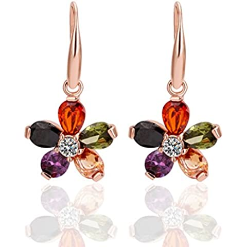 YC – Top Lovely Flores 18 K Bañado en Oro Rosa Circonita Cúbica Colorful Lady pendientes