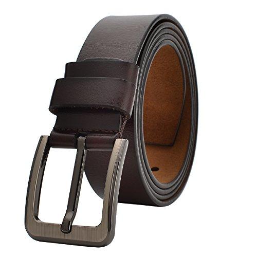 VRLEGEND Cinturones Casual Hombre Cinturón Vintage Cuero Genuino,Traje Para Jeans & Ropa Casual & Ropa de Trabajo & Ropa Formal (160cm, Marrón)