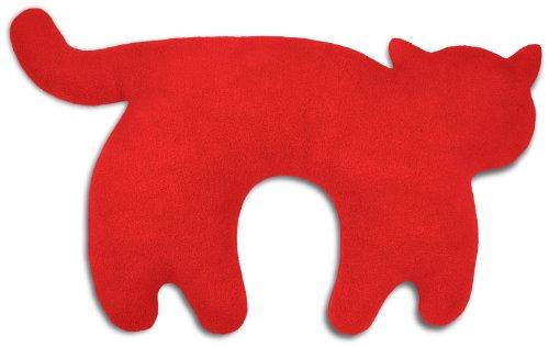 Leschi REISEKISSEN für erholsamen Schlaf in Auto, Flugzeug und Camping-Bett / Reisegeschenk für Kinder und Erwachsene / waschbares Nackenkissen / Katze Feline, rot schwarz