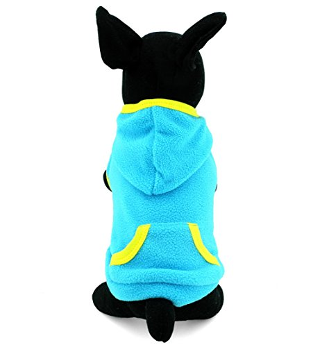 zunea Haustier Kleidung Apparel für kleine Hunde Katzen BLANKO Fleece Mantel Hoodie Jumper Sport Stil