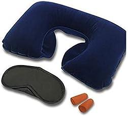Inditradition 3 In 1 Travel Kit Set - Neck Pillow, Eye Mask, Ear Bud (Multi Colour)