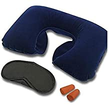 Gion 3 in 1 Inflatable Neck Air Cushion Pillow with Eye Mask and Ear Plugs Travel Kit