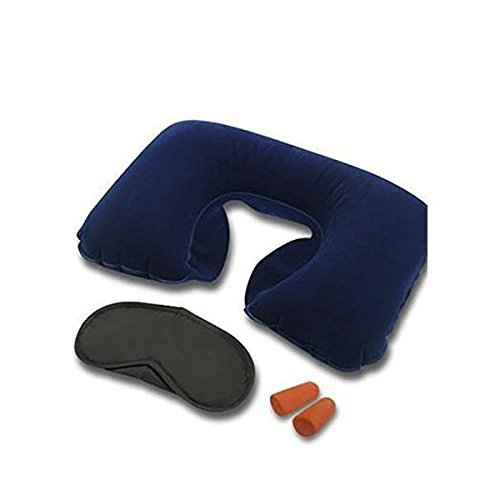 Inditradition 3 In 1 Travel Kit Set - Neck Pillow, Eye Mask, Ear Bud (Multi Colour)