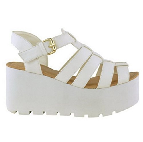 Miss Image Uk, Gladiateur Femme Blanc Imitation Cuir