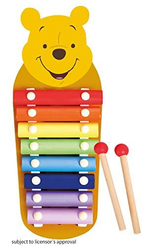 Lena 52950 Xylofon Disney Winnie The Pooh, Holzxylofon mit 8 Metall Klangplättchen und 2 Schlägel aus Holz, Schlaginstrument für Kinder ab 24m+, Kinderinstrument in Puuh Bär Form, bunt