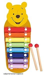Lena 52950 Xylofon Disney Winnie The Pooh - xilófono de Madera con 8 plaquetas de Metal y 2 Baquetas de Madera, Instrumento de percusión para niños a Partir de 24 m+, diseño de Oso de Peluche