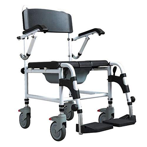 Leichtgewicht-faltrollstuhl (SXTYRL faltbar Leichtgewicht Rollstuhl Aluminium Faltbare Faltrollstuhl Fahrbarer Toilettenstuhl Nachtstuhl Höhenverstellbarer Duschstuhl,Badezimmer-Unterstützung für ältere Senioren,Wheelchair)