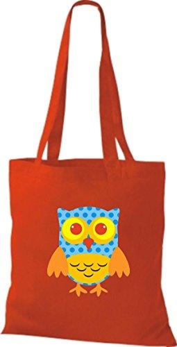 ShirtInStyle Jute Stoffbeutel Bunte Eule niedliche Tragetasche mit Punkte Karos streifen Owl Retro diverse Farbe, weiss rot