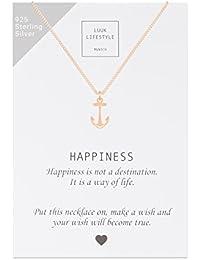 LUUK LIFESTYLE Sterling Silber 925 Halsketten mit Happiness Spruchkarte,  Glücksbringer, Damen Schmuck in der 6e7745ea8d