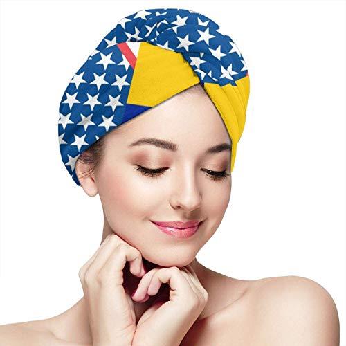 USA und Bosnien und Herzegowina Flagge Handtücher Wrap Druckknöpfe Trockenes Haar Hut gewickelt Badekappe Saugfähige Kappe passt die meisten Haare