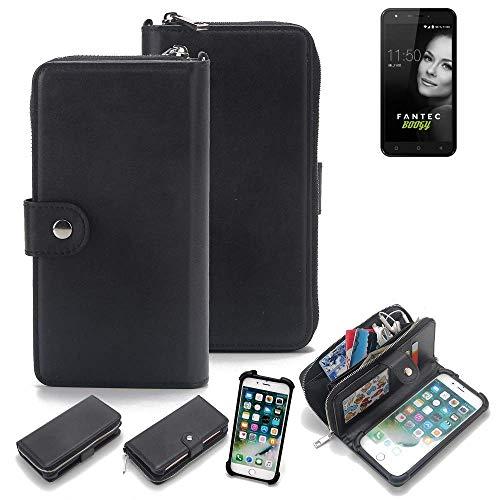 K-S-Trade 2in1 Handyhülle für FANTEC Boogy Schutzhülle und Portemonnee Schutzhülle Tasche Handytasche Case Etui Geldbörse Wallet Bookstyle Hülle schwarz (1x)