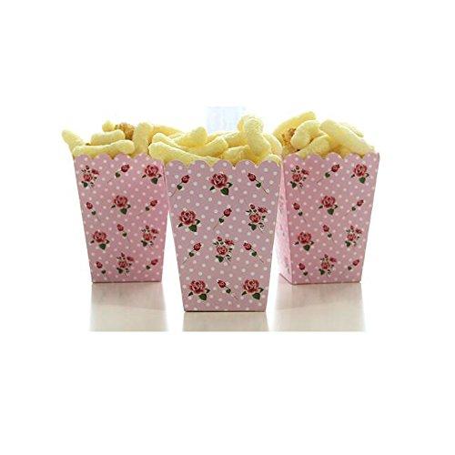Paracity 12 pcs Popcorn Boîtes en carton Candy Container vintage roses vague Motif de points Deco