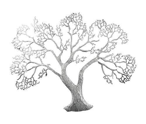 GILDE Wandrelief Baum - aus Metall in Silber H 62 cm B 78 cm