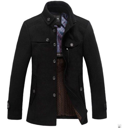 sulandy @ Männer Winterjacke, warm, weich, Woll-Mischung, Slim Fit, erhältlich in Schwarz oder Grau 1297 black