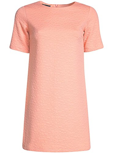 oodji Collection Damen Gerades Kleid aus Strukturiertem Stoff Rosa (5400N)