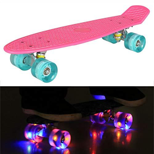 55cm/22 Mini Cruiser Board Retro Skateboard Komplettboard mit LED Leuchtrollen für Jugendliche Kinder und Erwachsene (Rosa Deck - Blau Rollen)