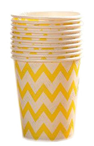 Getränke-air-service (20 Count 9-OZ (250 ML) Einweg-Pappbecher Party Supplies Trinken / Picknick / Barbecue Cups, Gelb # 18)