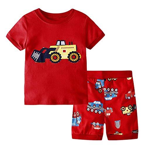 Julhold Kinder Kinder Jungen Hübsch Kurzarm Cartoon Baumwolle Slim Print T-Shirt Tops + Shorts Schlafanzug Set 1-7 Jahre -