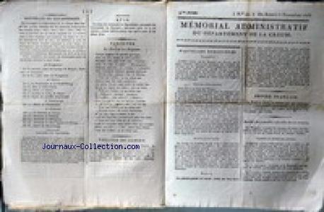 MEMORIAL ADMINISTRATIF DU DEPARTEMENT DE LA CREUSE [No 45] du 06/11/1813 - NOUVELLES ETRANGERES - TURQUIE - EMPIRE D'AUTRICHE - ANGLETERRE - ITALIE - LE GENERAL LEFEVRE-DESNOUETTES A ALTEMBOURG - LE PRINCE DE LA MOSCOWA A DESSAU - THEATRE DE GUERET - SITUATION DES ARMEES - COUR DE CASSATION - LES SIEURS ET DAME PASCAL - LESIEUR DECAIX - MLLE DELAPORTE.