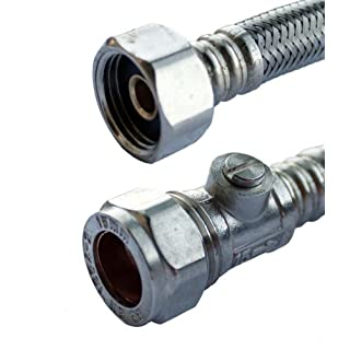 Plumb-Pak PF9750 15mm x 1/2-inch x 500mm Flexible Iso Valve Tap Connector, Pack of 2